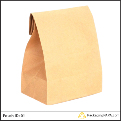 Flat Bottom Pouch brown kraft paper 01